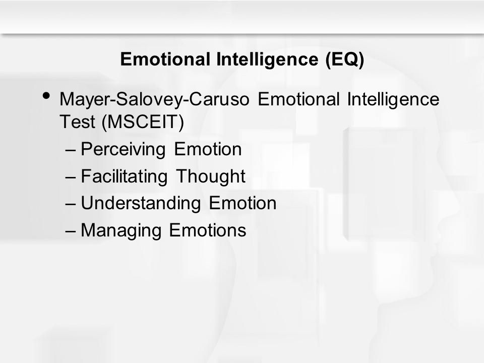 Emotional Intelligence (EQ) Mayer-Salovey-Caruso Emotional Intelligence Test (MSCEIT) –Perceiving Emotion –Facilitating Thought –Understanding Emotion –Managing Emotions
