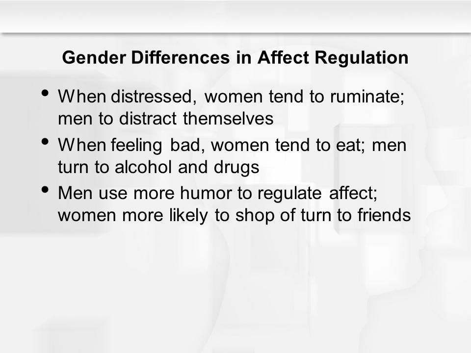 Gender Differences in Affect Regulation When distressed, women tend to ruminate; men to distract themselves When feeling bad, women tend to eat; men turn to alcohol and drugs Men use more humor to regulate affect; women more likely to shop of turn to friends