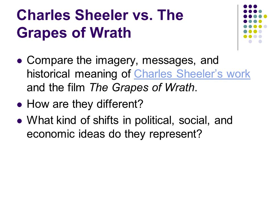 Charles Sheeler vs. The Grapes of Wrath Compare the imagery, messages, and historical meaning of Charles Sheeler's work and the film The Grapes of Wra