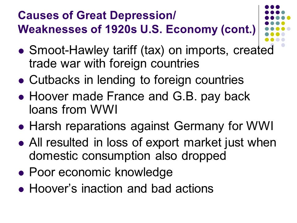 Causes of Great Depression/ Weaknesses of 1920s U.S.