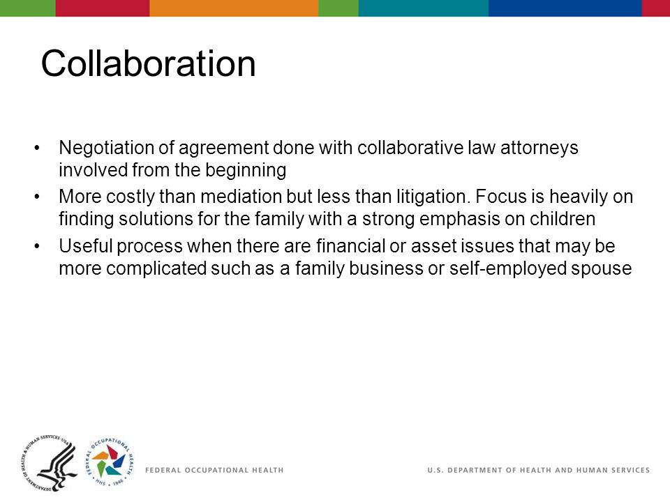 Collaboration Negotiation of agreement done with collaborative law attorneys involved from the beginning More costly than mediation but less than litigation.