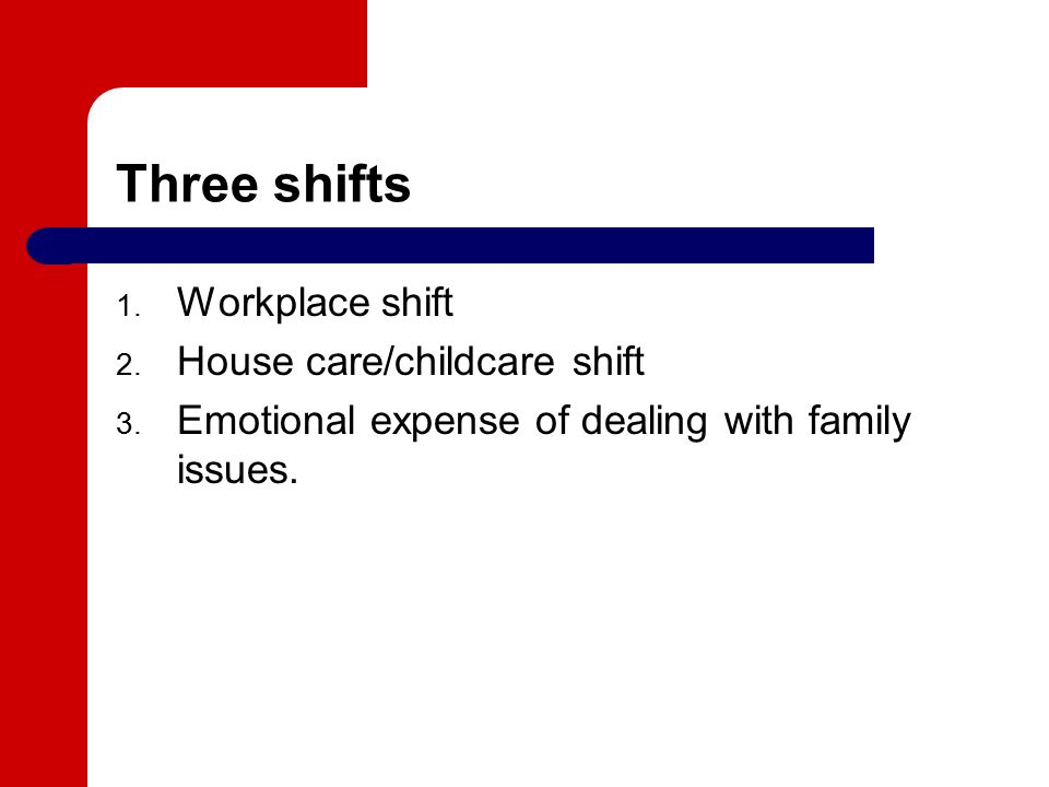 Three shifts 1. Workplace shift 2. House care/childcare shift 3.