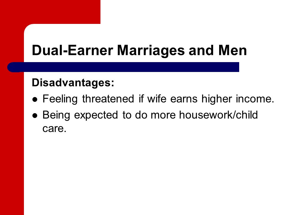 Dual-Earner Marriages and Men Disadvantages: Feeling threatened if wife earns higher income.
