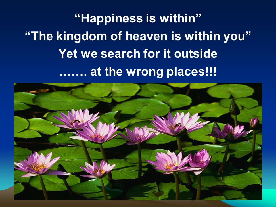 Happiness is within The kingdom of heaven is within you Yet we search for it outside …….