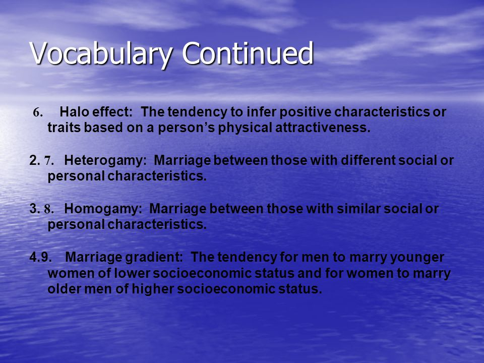VOCABULARY CHAPTER 7 – SINGLEHOOD & PAIRING 1. 1.1.