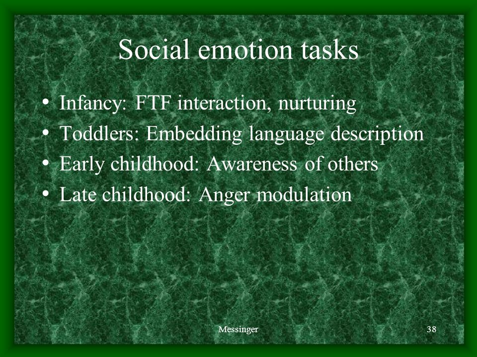 Messinger38 Social emotion tasks Infancy: FTF interaction, nurturing Toddlers: Embedding language description Early childhood: Awareness of others Late childhood: Anger modulation