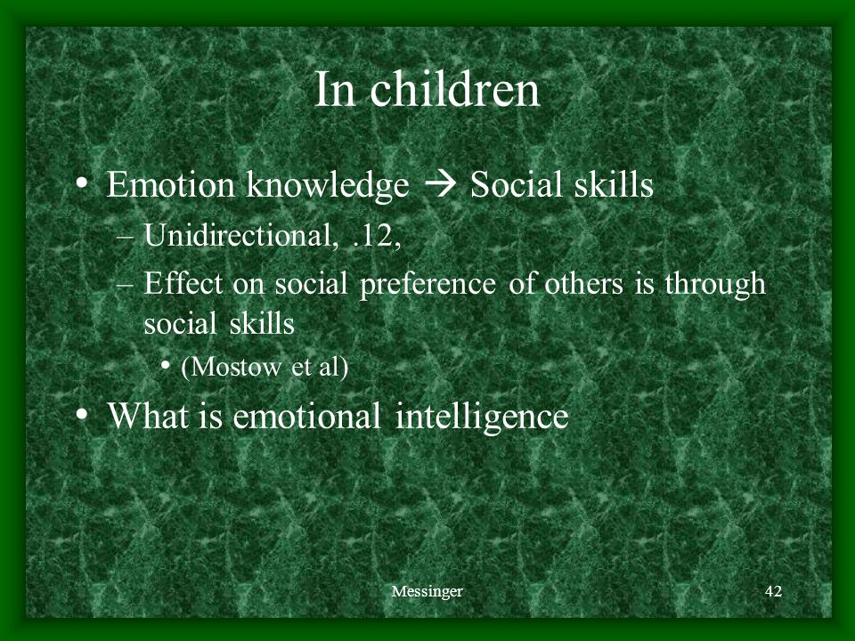 Messinger42 In children Emotion knowledge  Social skills –Unidirectional,.12, –Effect on social preference of others is through social skills (Mostow et al) What is emotional intelligence