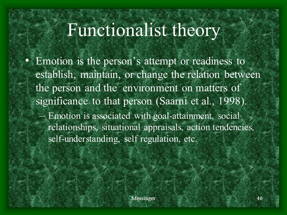 Messinger46 Functionalist theory Emotion is the person's attempt or readiness to establish, maintain, or change the relation between the person and the environment on matters of significance to that person (Saarni et al., 1998).