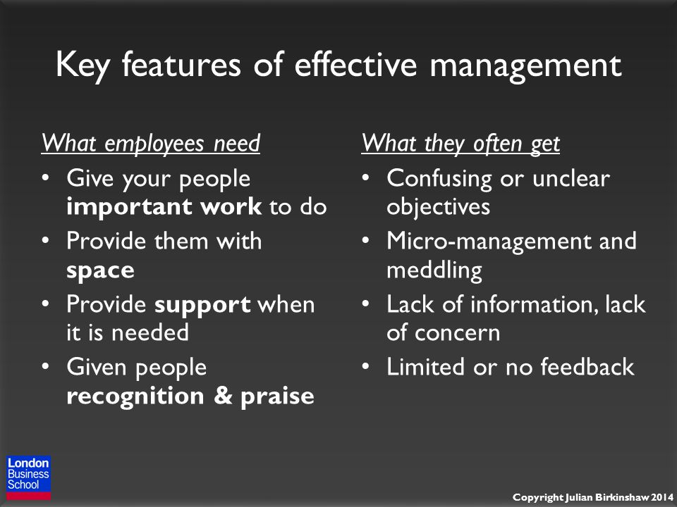 Copyright Julian Birkinshaw 2014 Key features of effective management What employees need Give your people important work to do Provide them with space Provide support when it is needed Given people recognition & praise What they often get Confusing or unclear objectives Micro-management and meddling Lack of information, lack of concern Limited or no feedback