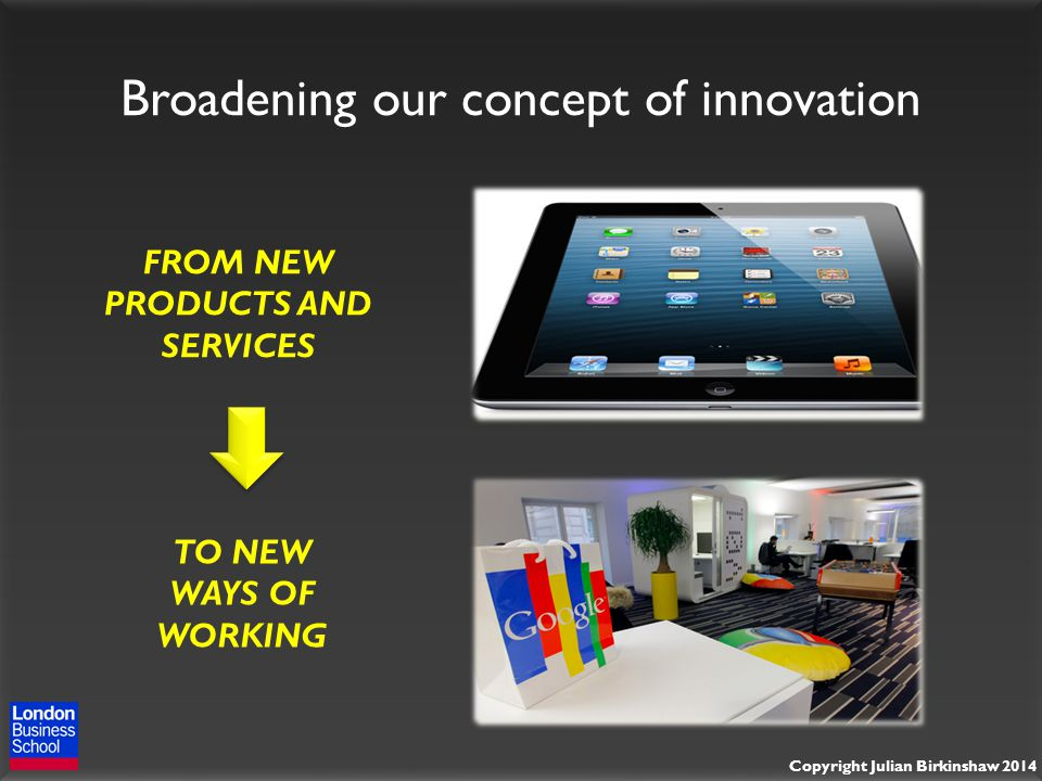 Copyright Julian Birkinshaw 2014 Broadening our concept of innovation FROM NEW PRODUCTS AND SERVICES TO NEW WAYS OF WORKING