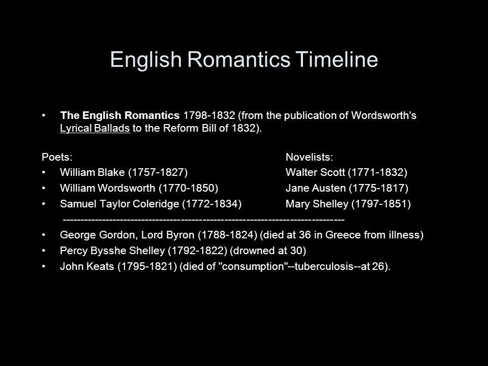 English Romantics Timeline The English Romantics 1798-1832 (from the publication of Wordsworth's Lyrical Ballads to the Reform Bill of 1832). Poets:No