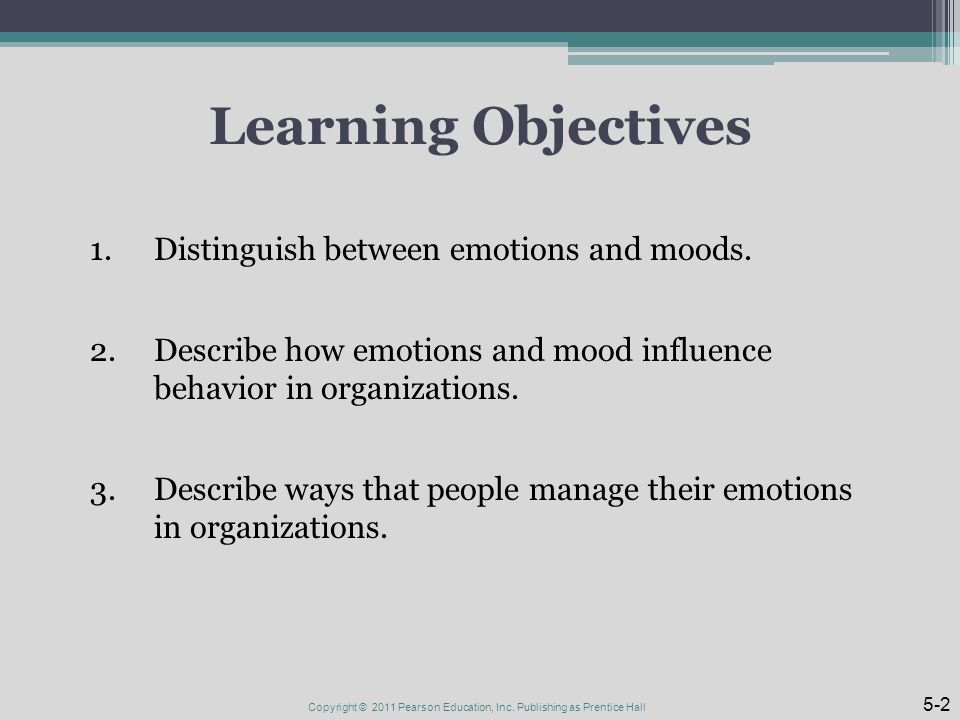 Learning Objectives 1.Distinguish between emotions and moods.