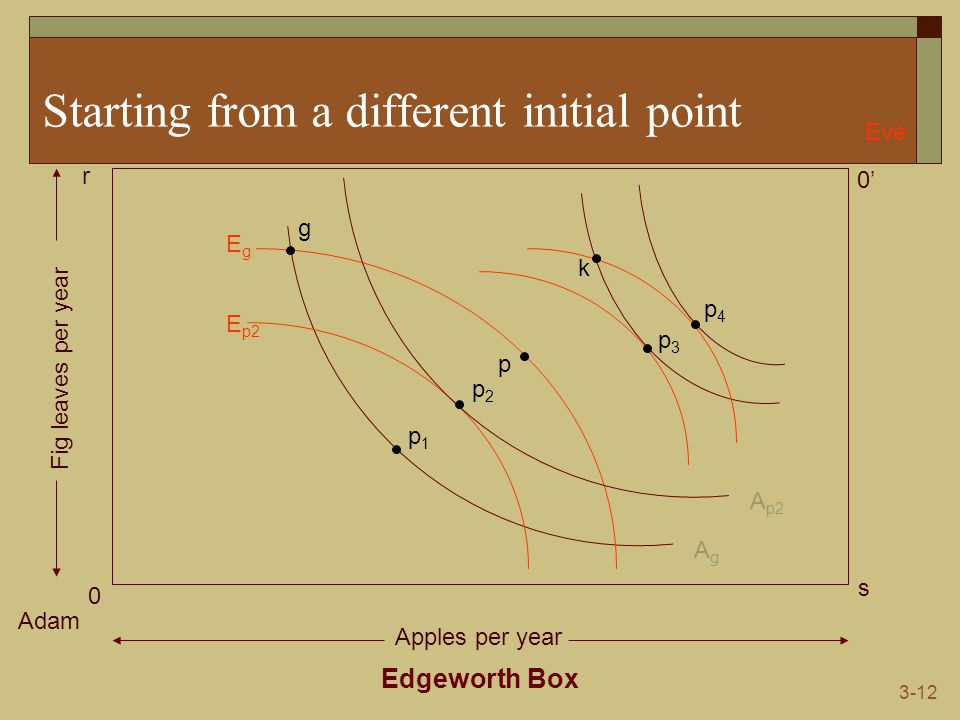 3-12 Starting from a different initial point Edgeworth Box Adam Eve 0 0' s r Apples per year Fig leaves per year AgAg EgEg g p1p1 p E p2 A p2 p2p2 p3p3 p4p4 k