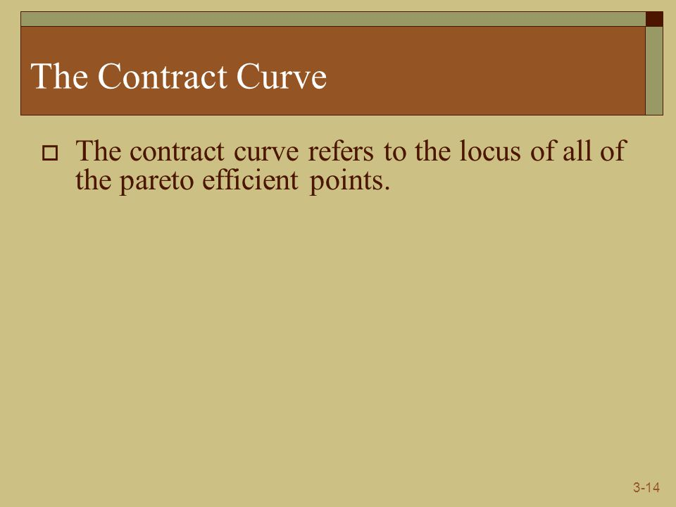 3-14 The Contract Curve  The contract curve refers to the locus of all of the pareto efficient points.
