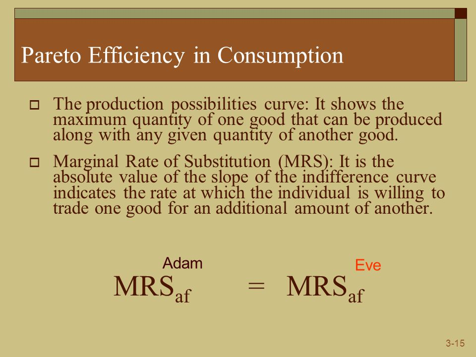 3-15 Pareto Efficiency in Consumption  The production possibilities curve: It shows the maximum quantity of one good that can be produced along with any given quantity of another good.