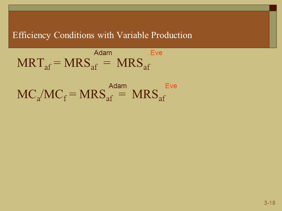 3-18 Efficiency Conditions with Variable Production MRT af = MRS af = MRS af MC a /MC f = MRS af = MRS af AdamEve AdamEve