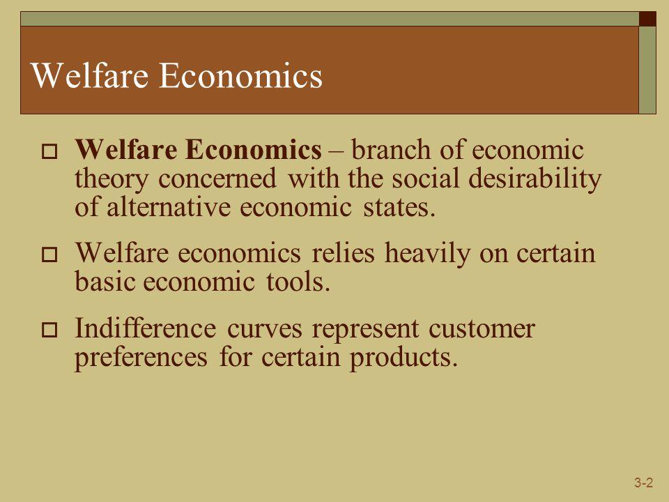 3-2 Welfare Economics  Welfare Economics – branch of economic theory concerned with the social desirability of alternative economic states.  Welfare