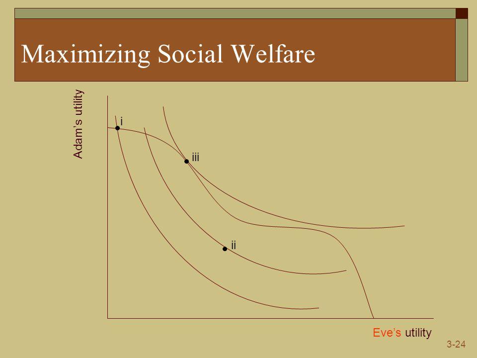 3-24 Maximizing Social Welfare Eve's utility Adam's utility i ii iii