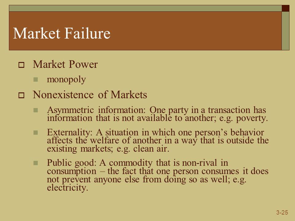 3-25 Market Failure  Market Power monopoly  Nonexistence of Markets Asymmetric information: One party in a transaction has information that is not available to another; e.g.