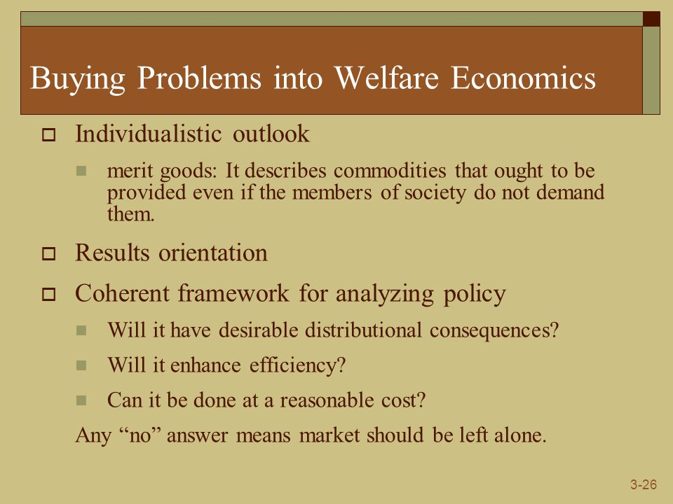 3-26 Buying Problems into Welfare Economics  Individualistic outlook merit goods: It describes commodities that ought to be provided even if the members of society do not demand them.