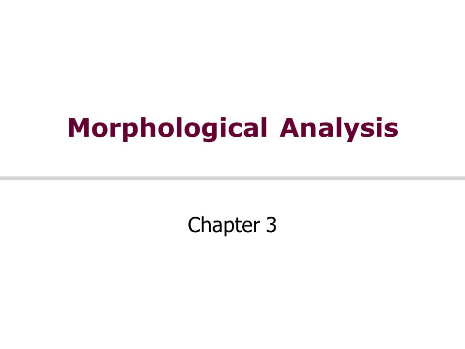 Morphological Analysis Chapter 3