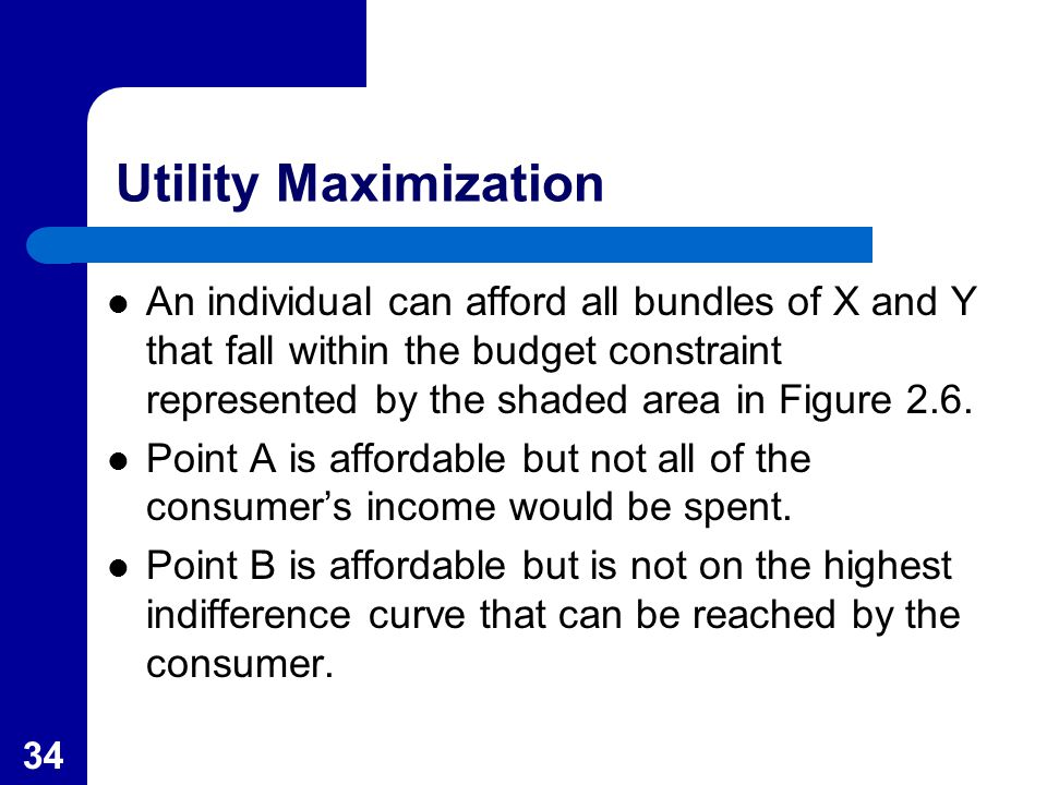 34 Utility Maximization An individual can afford all bundles of X and Y that fall within the budget constraint represented by the shaded area in Figure 2.6.