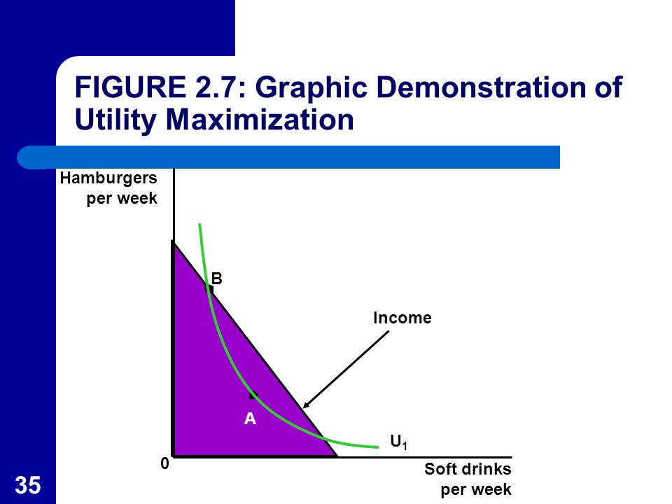35 Hamburgers per week B A Income U1U1 Soft drinks per week 0 FIGURE 2.7: Graphic Demonstration of Utility Maximization