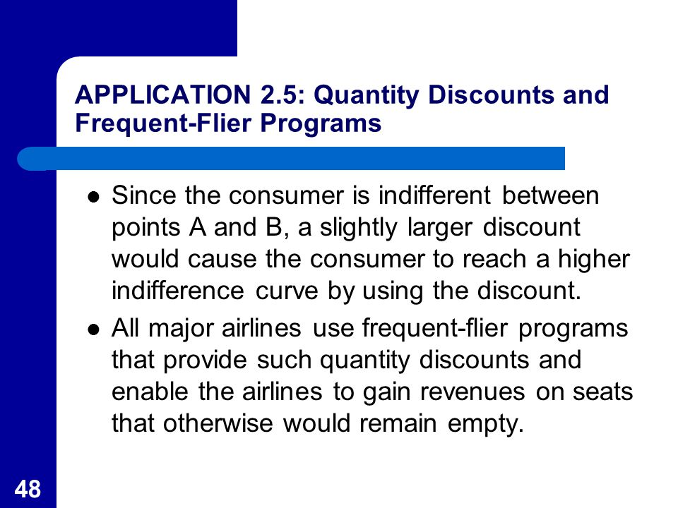 48 APPLICATION 2.5: Quantity Discounts and Frequent-Flier Programs Since the consumer is indifferent between points A and B, a slightly larger discoun