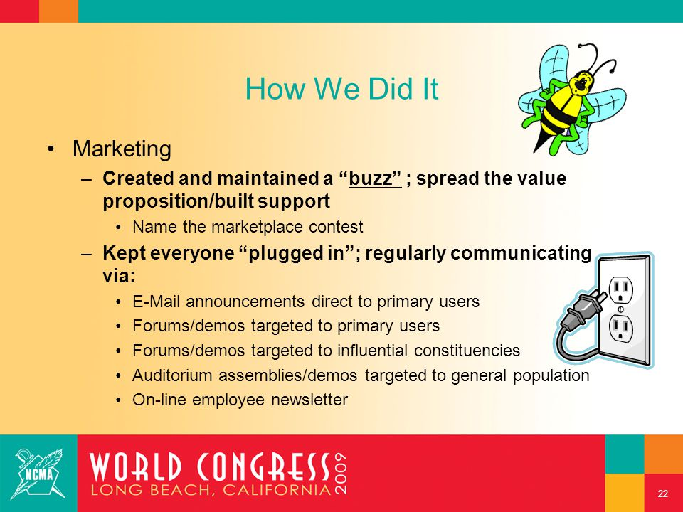 """How We Did It Marketing –Created and maintained a """"buzz"""" ; spread the value proposition/built support Name the marketplace contest –Kept everyone """"plu"""