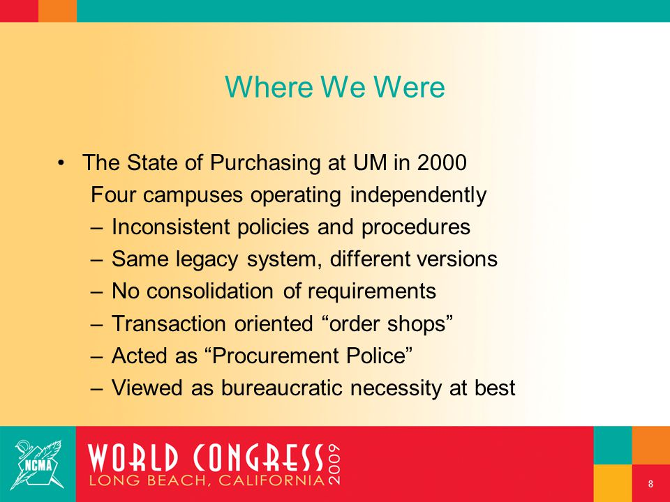 Where We Were The State of Purchasing at UM in 2000 Four campuses operating independently –Inconsistent policies and procedures –Same legacy system, d