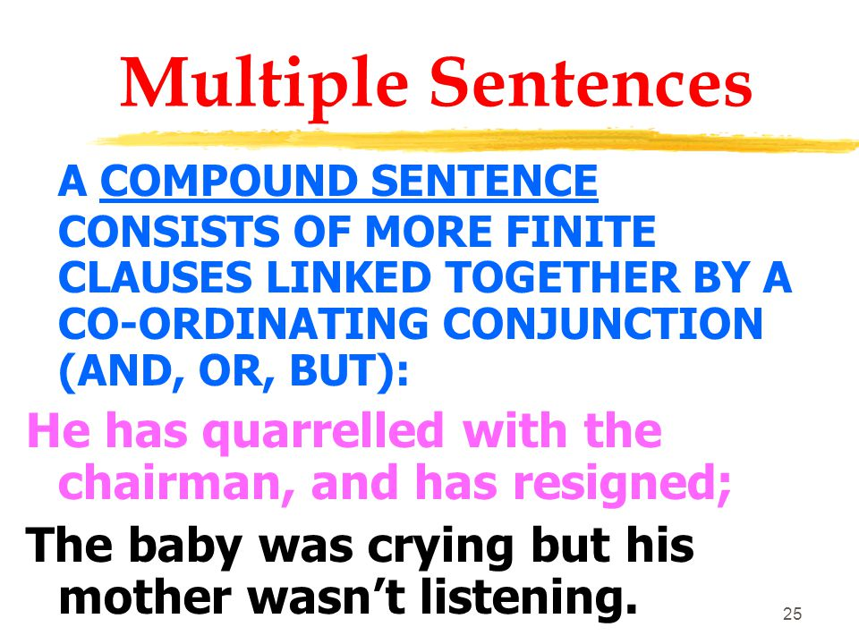 24 Multiple Sentences As we mentioned earliner, sentences which contain only one clause are called simple sentences. Multiple sentences can be analyse