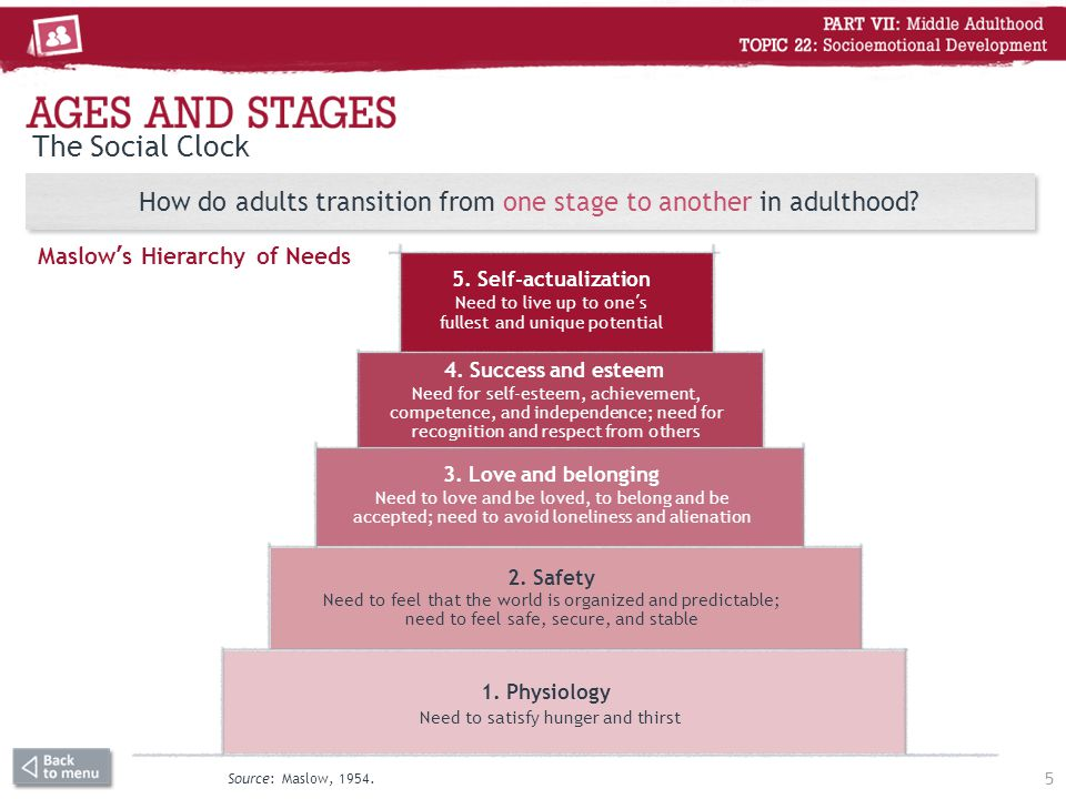 The Social Clock How do adults transition from one stage to another in adulthood? Maslow's Hierarchy of Needs 5 Source: Maslow, 1954. 5. Self-actualiz