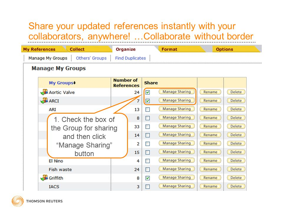 Share your updated references instantly with your collaborators, anywhere.