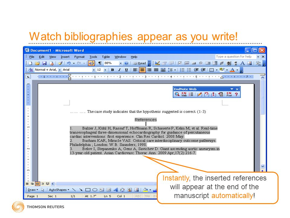 Watch bibliographies appear as you write.