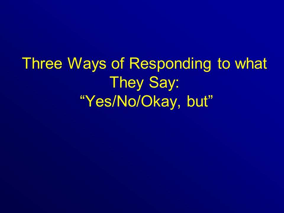 Three Ways of Responding to what They Say: Yes/No/Okay, but