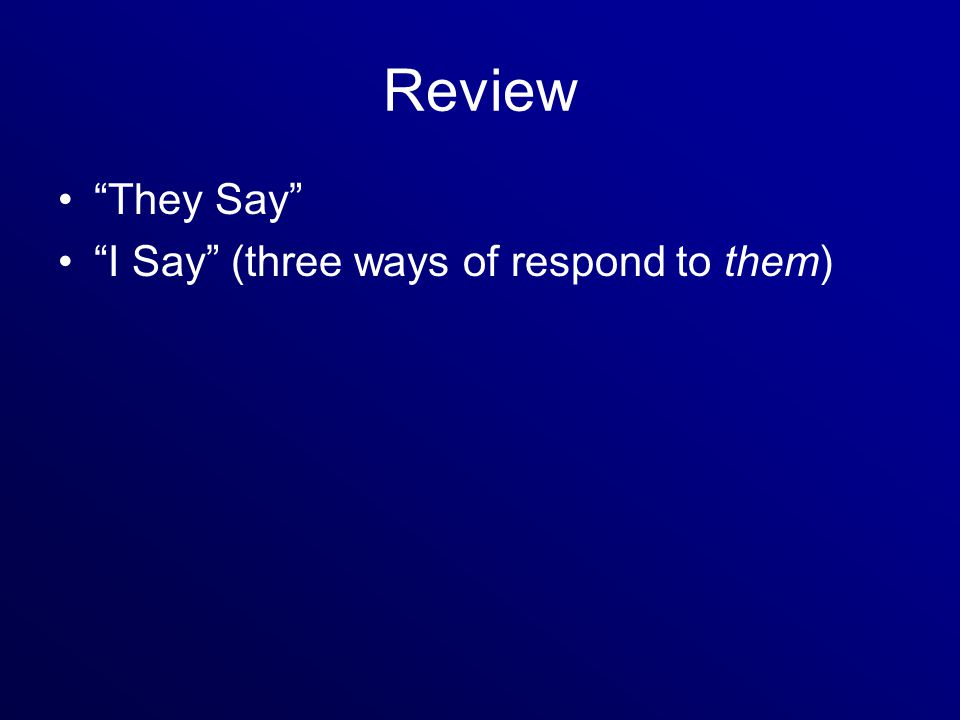 Review They Say I Say (three ways of respond to them)