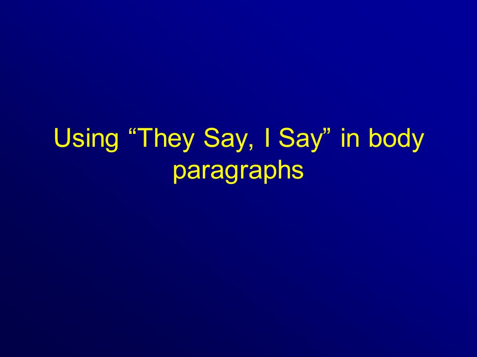 Using They Say, I Say in body paragraphs