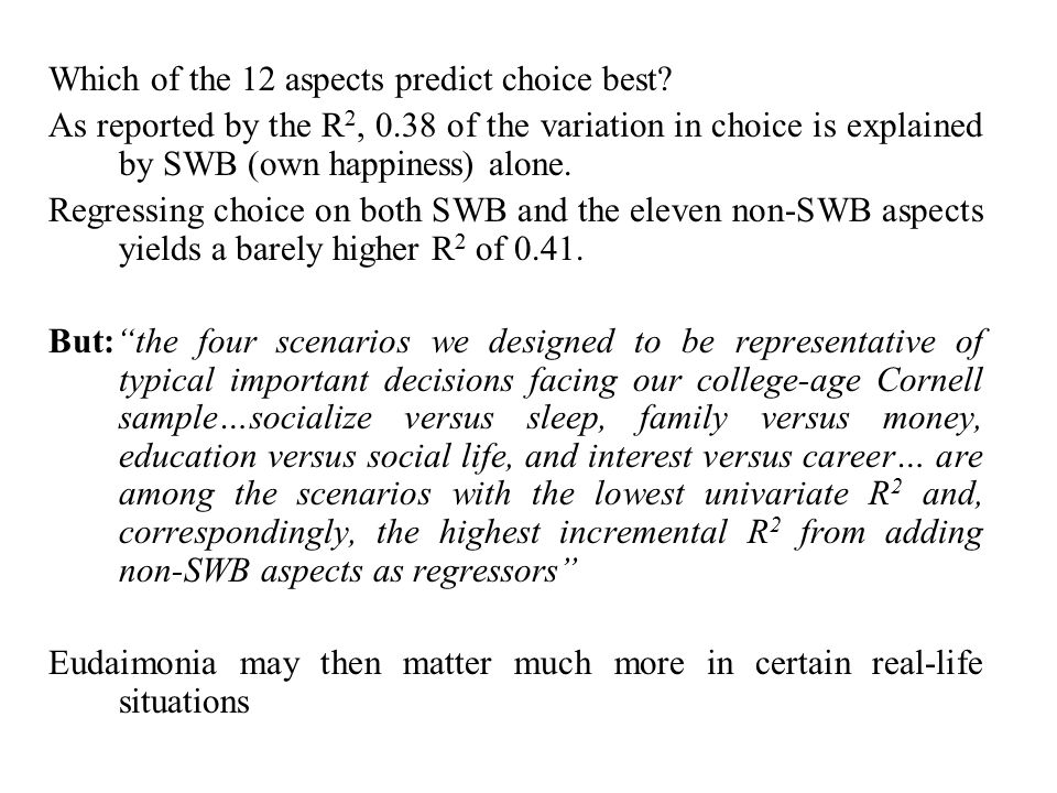 Which of the 12 aspects predict choice best.