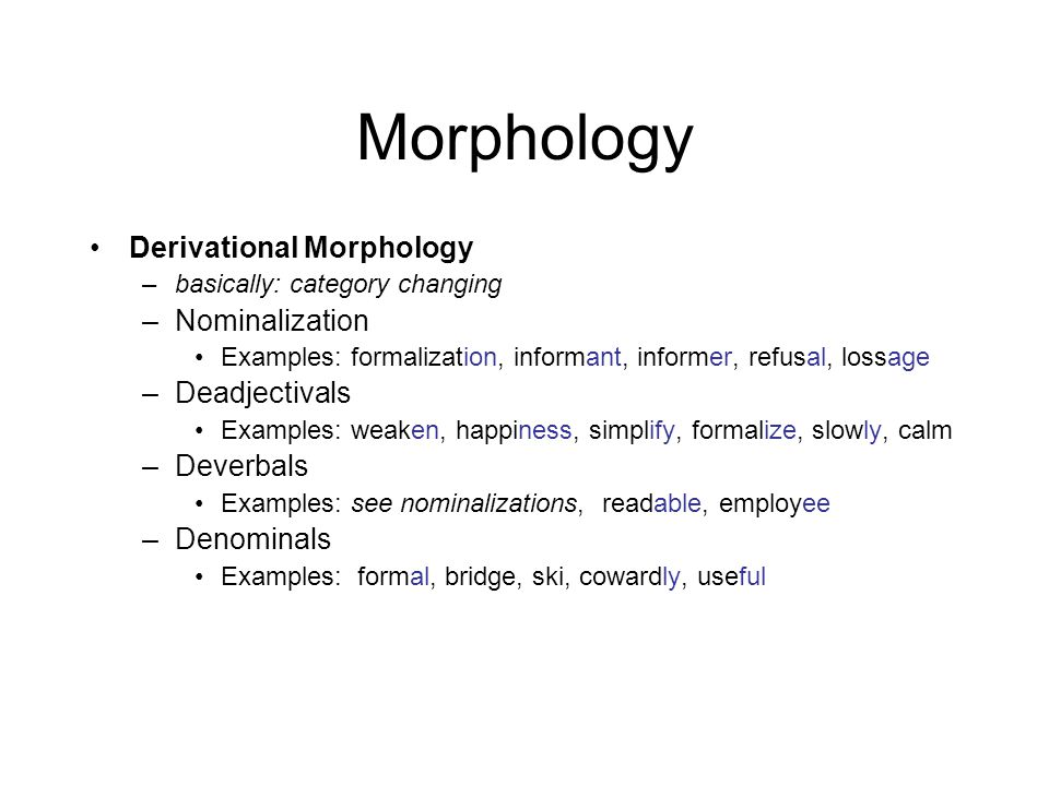 Morphology Derivational Morphology –basically: category changing –Nominalization Examples: formalization, informant, informer, refusal, lossage –Deadjectivals Examples: weaken, happiness, simplify, formalize, slowly, calm –Deverbals Examples: see nominalizations, readable, employee –Denominals Examples: formal, bridge, ski, cowardly, useful