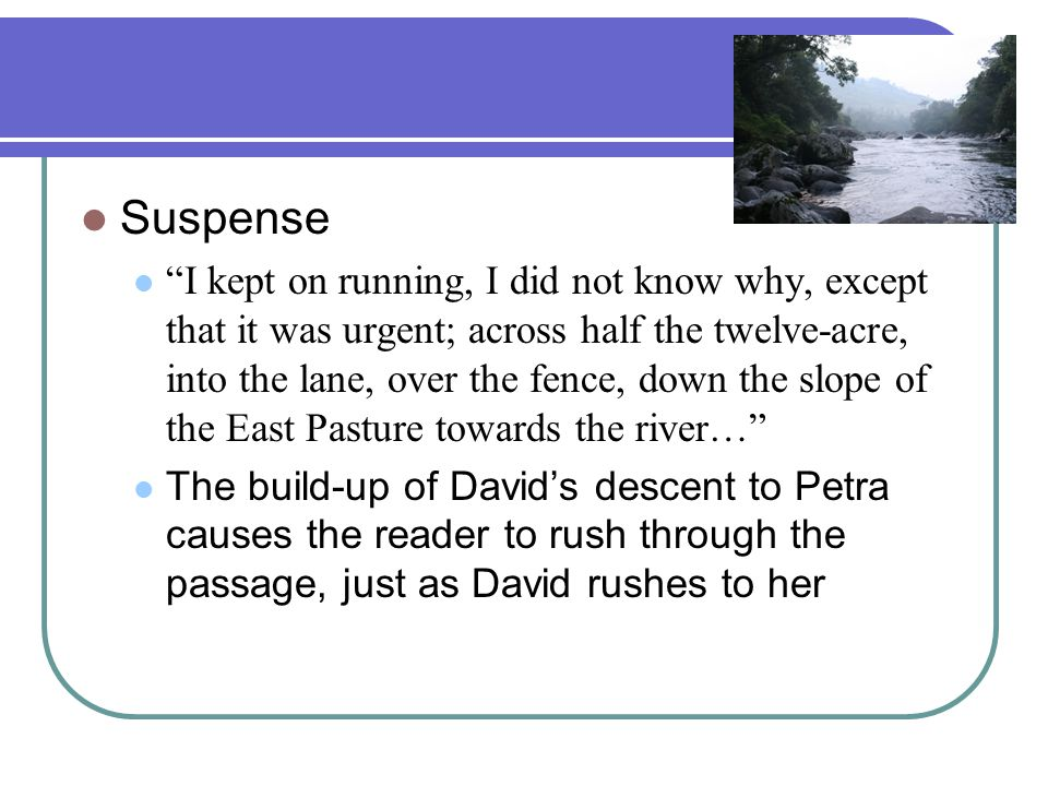 Suspense I kept on running, I did not know why, except that it was urgent; across half the twelve-acre, into the lane, over the fence, down the slope of the East Pasture towards the river… The build-up of David's descent to Petra causes the reader to rush through the passage, just as David rushes to her