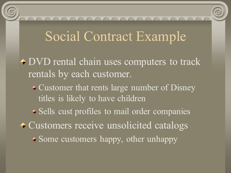 Social Contract Example DVD rental chain uses computers to track rentals by each customer.