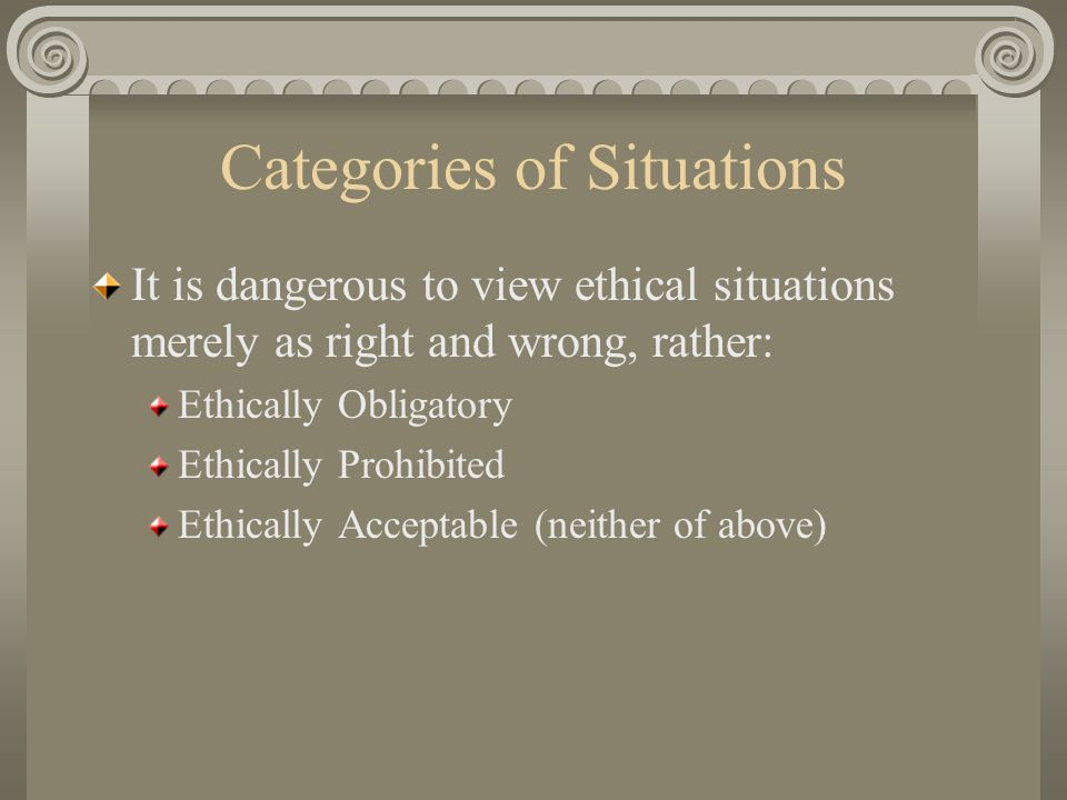 Categories of Situations It is dangerous to view ethical situations merely as right and wrong, rather: Ethically Obligatory Ethically Prohibited Ethically Acceptable (neither of above)