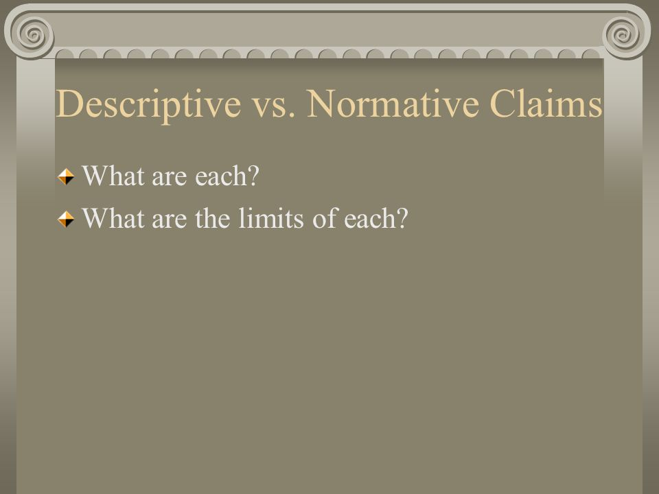 Descriptive vs. Normative Claims What are each What are the limits of each