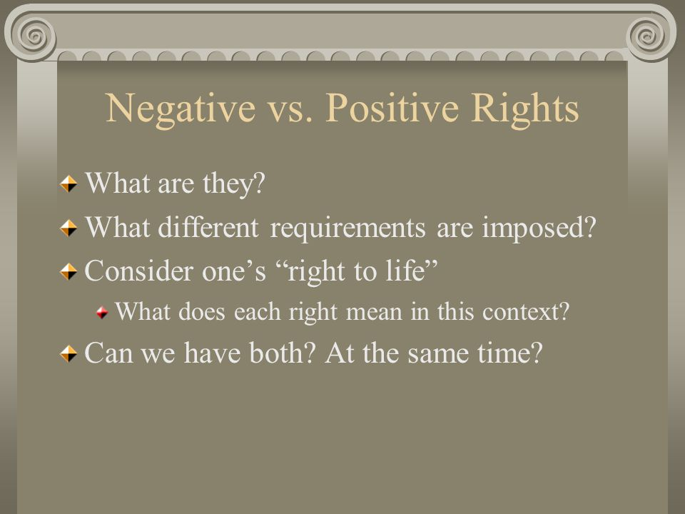Negative vs. Positive Rights What are they. What different requirements are imposed.