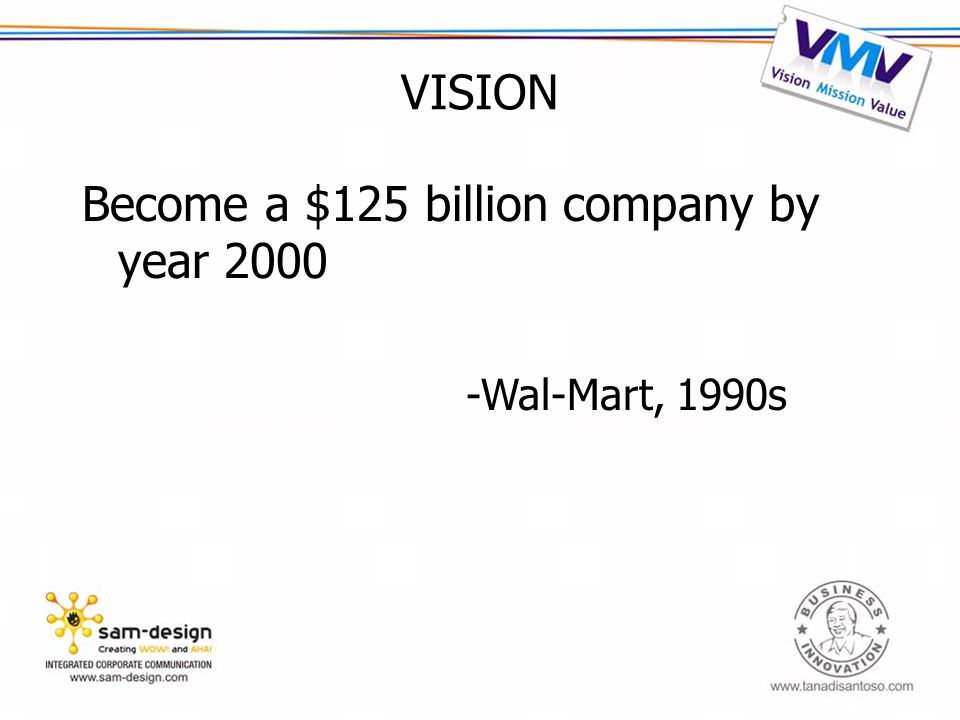 VISION Become a $125 billion company by year 2000 -Wal-Mart, 1990s