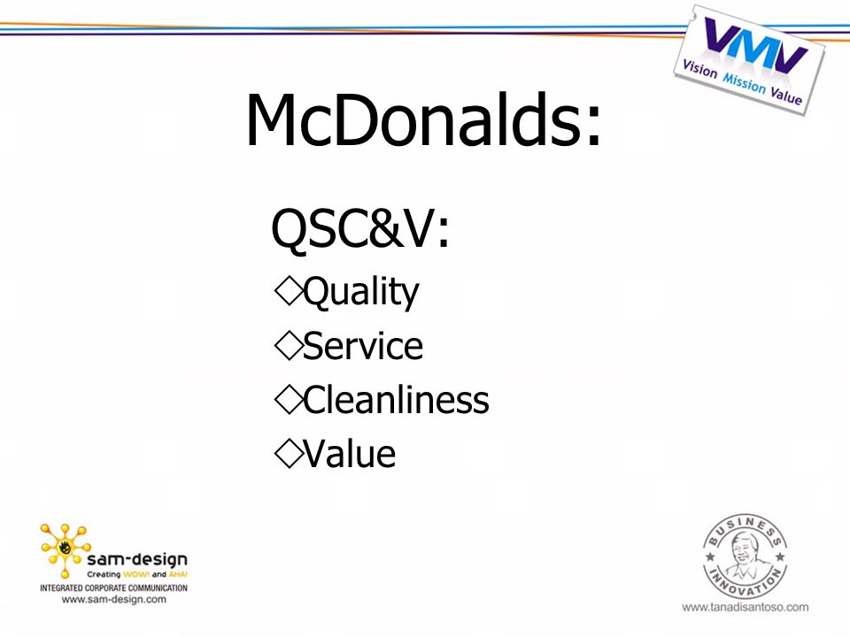 McDonalds: QSC&V:  Quality  Service  Cleanliness  Value