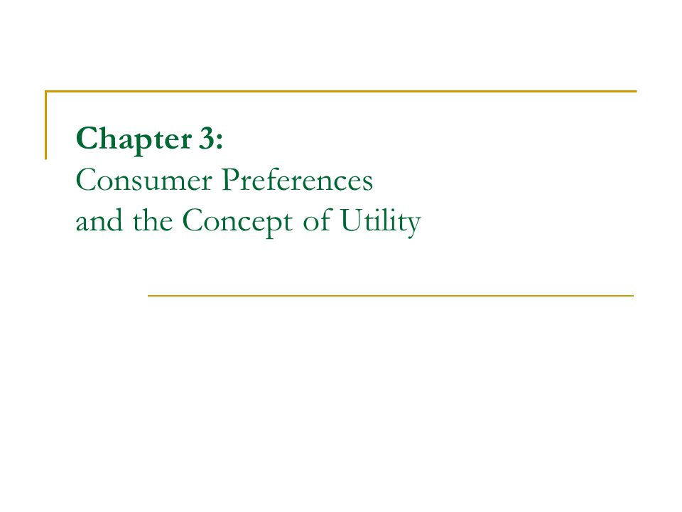 2 Outline Introduction Description of consumer preferences The Utility functions  Marginal utility and diminishing marginal utility Indifference Curves Marginal rate of substitution Special functional forms