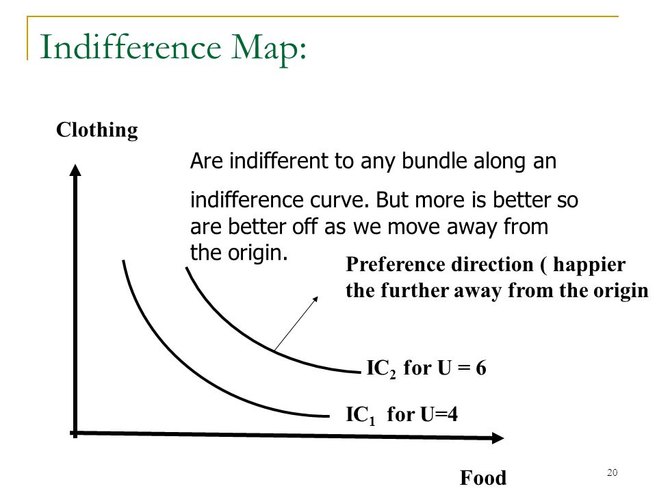 21 Indifference Curves and Map An Indifference Curve or Indifference Set: is the set of all baskets for which the consumer is indifferent An Indifference Map: illustrates a set of indifference curves for a consumer, it is an ordinal ranking.