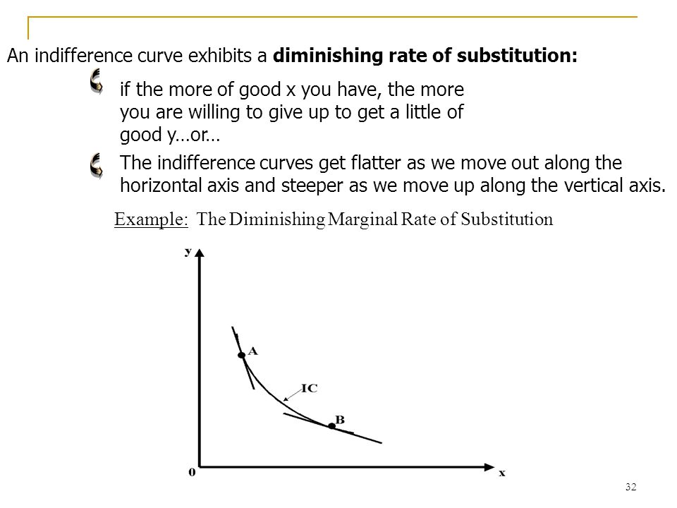 33 Example: For the following indifference curves, what is the marginal rate of substitution between x and y is: 1,.5, 2, or 5.