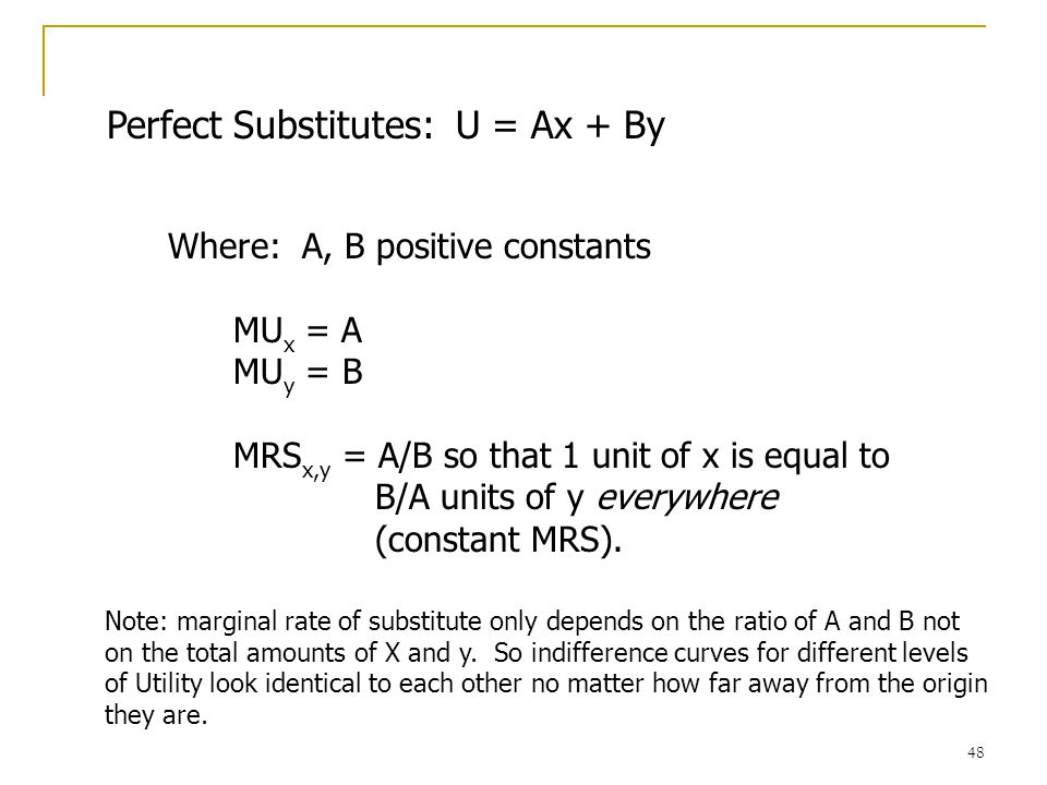 49 Example: Perfect Substitutes (Tylenol, Extra-Strength Tylenol) x0 y IC 1 IC 2 IC 3 Slope = -A/B
